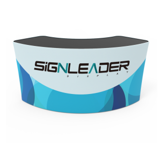 Portable 5ft U Shaped/Curved Trade Show Reception Desk With Graphics