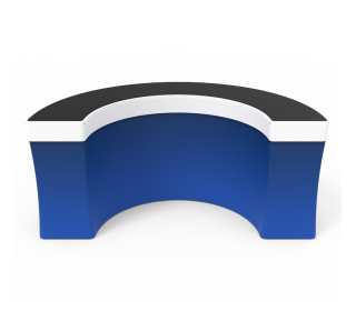 Portable 7ft U Shaped/Curved Trade Show Reception Desk With Graphics