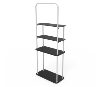 Portable Display Tower Fabric Shelf Stand With Graphic