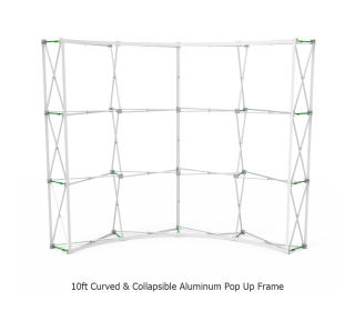 10ft Curve Velcro Fabric Pop Up Display With Podium Case|Portable Trade Show Booth