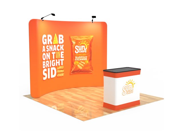 10ft Curved Tension Fabric Display With Podium Case|Portable Trade Show Booth
