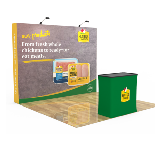 10ft Straight Velcro Fabric Pop Up Display With Podium Case|Portable Trade Show Booth