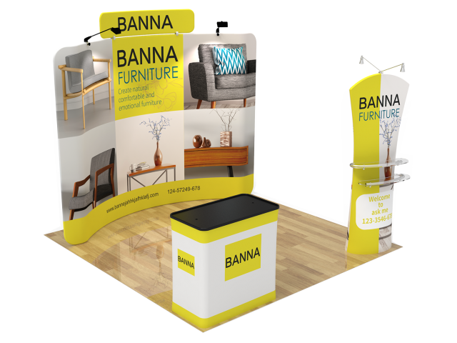 10ft Curved Portable Trade Show Booth Kit 20