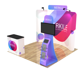 10ft Curved Portable Trade Show Booth Kit 28