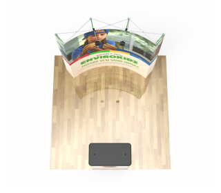 8ft Curve Velcro Fabric Pop Up Display With Podium Case|Portable Trade Show Booth