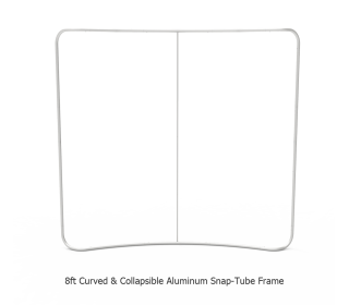 8ft Curved Tension Fabric Display With Podium Case Portable Trade Show Booth