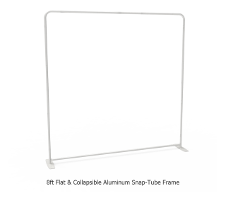 8ft Straight Tension Fabric Display With Podium Case|Portable Trade Show Booth