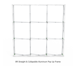 8ft Straight Velcro Fabric Pop Up Display With Podium Case|Portable Trade Show Booth