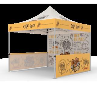 Custom Pop Up Canopy Tent 10x10 with Single-Sided Full Backwall & 2 x Single-Sided Half Sidewalls