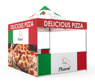 Custom Pop Up Canopy Tent 10x10  with Double-Sided Full Backwall & 2 x Double-Sided Half Sidewalls