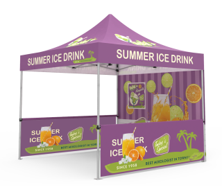 Custom Pop Up Canopy Tent 10x10 with Single-Sided Full Backwall & 2 x Double-Sided Half Sidewalls