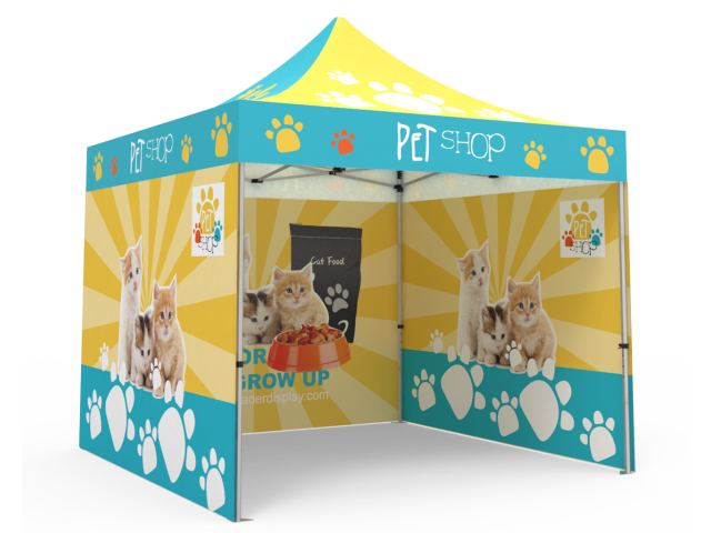 Custom Pop Up Canopy Tent 10x10 with Double-Sided Full Backwall & 2 x Double-Sided Full Sidewalls