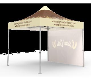 Custom Pop Up Canopy Tent 10x10 with Single-Sided Full Backwall