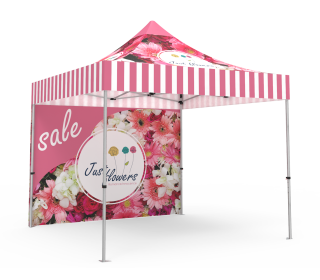 Custom Pop Up Canopy Tent 10x10 with Double-Sided Full Backwall