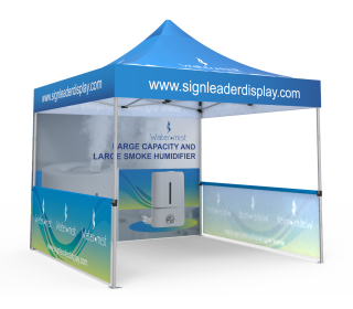 Custom Pop Up Canopy Tent 10x10 with Double-Sided Full Backwall & 2 x Single-Sided Half Sidewalls
