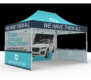 Custom 10x15 Pop Up Canopy Tent with Single-Sided Full Backwall & 2 x Single-Sided Half Sidewalls