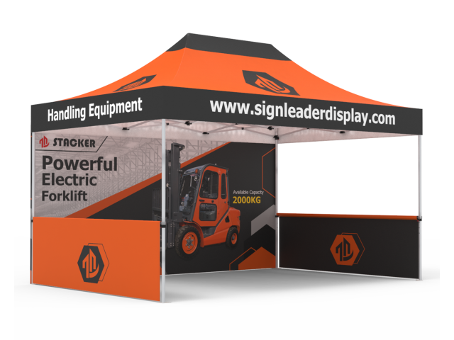 Custom 10x15 Pop Up Canopy Tent  with Double-Sided Full Backwall & 2 x Double-Sided Half Sidewalls