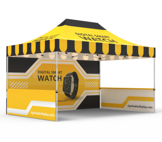 Custom 10x15  Pop Up Canopy Tent with Single-Sided Full Backwall & 2 x Double-Sided Half Sidewalls