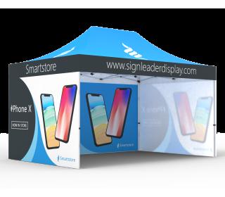 Custom 10x15 Pop Up Canopy Tent with Single-Sided Full Backwall & 2 x Single-Sided Full Sidewalls