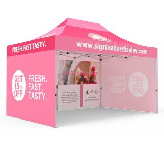 Custom 10x15 Pop Up Canopy Tent with Double-Sided Full Backwall & 2 x Single-Sided Full Sidewalls
