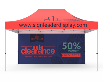Custom 10x15 Pop Up Canopy Tent with Double-Sided Full Backwall