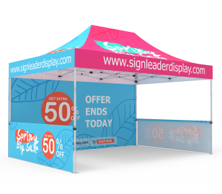 Custom 10x15 Pop Up Canopy Tent with Double-Sided Full Backwall & 2 x Single-Sided Half Sidewalls