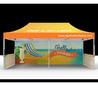 Custom 10x20 Pop Up Canopy Tent with Single-Sided Full Backwall & 2 x Single-Sided Half Sidewalls