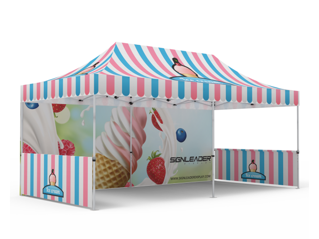 Custom 10x20 Pop Up Canopy Tent with Double-Sided Full Backwall & 2 x Double-Sided Half Sidewalls