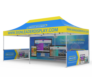 Custom 10x20 Pop Up Canopy Tent with Single-Sided Full Backwall & 2 x Double-Sided Half Sidewalls