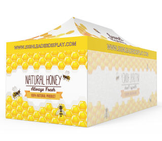 Custom 10x20 Pop Up Canopy Tent with Single-Sided Full Backwall & 2 x Single-Sided Full Sidewalls