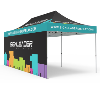 Custom 10x20 Pop Up Canopy Tent with Double-Sided Full Backwall