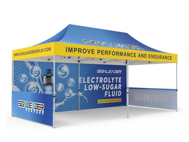 Custom 10x20 Pop Up Canopy Tent with Double-Sided Full Backwall & 2 x Single-Sided Half Sidewalls