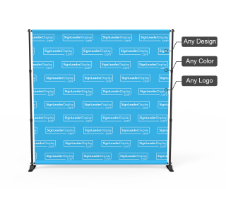 Adjustable Step and Repeat Video Backdrop Tension Fabric Display for Online Conferencing